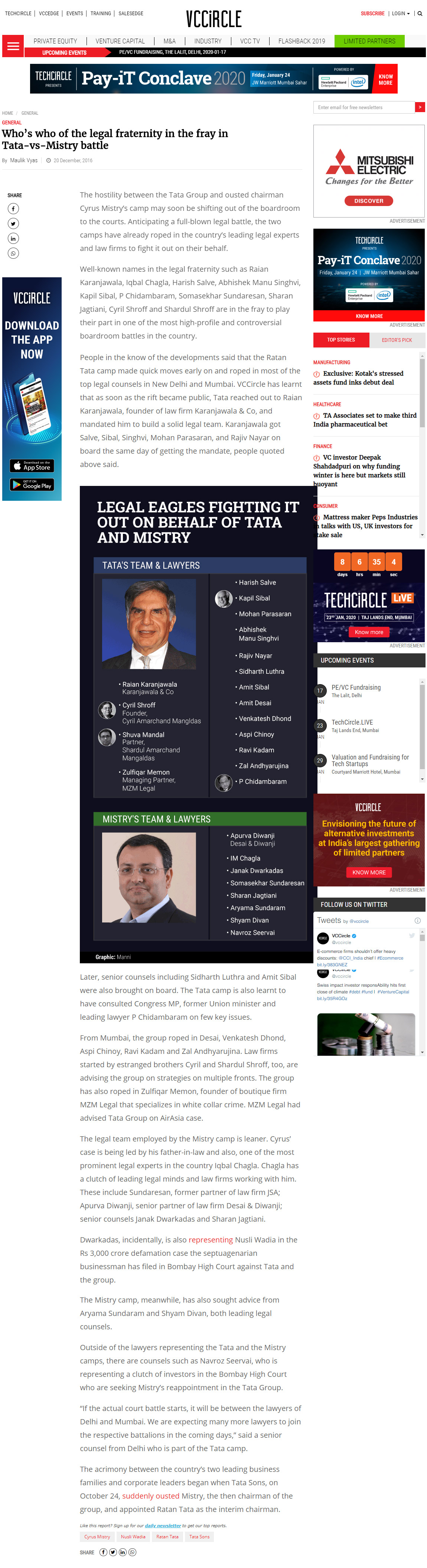 Who's who of the legal fraternity in the fray in Tata-vs-Mistry battle