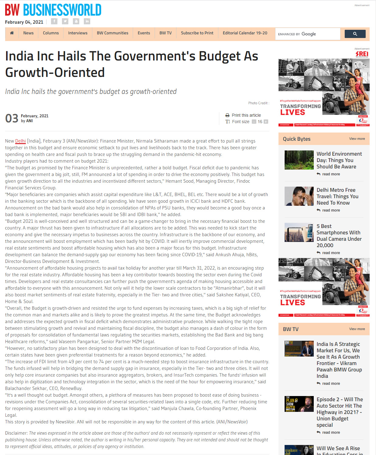 India Inc Hails The Government's Budget As Growth-Oriented