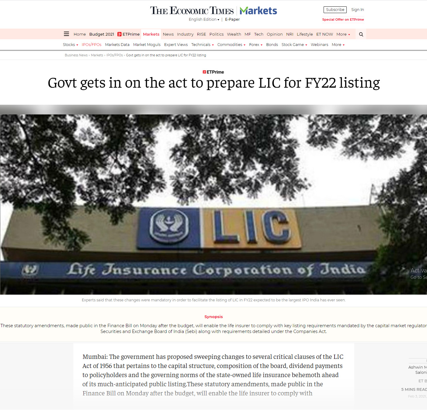 Govt gets in on the act to prepare LIC for FY22 listing