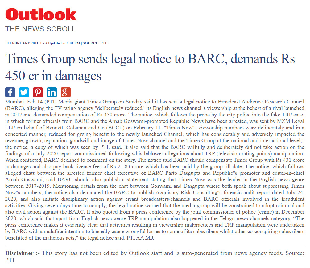 Times Group sends legal notice to BARC, demands Rs 450 cr in damages