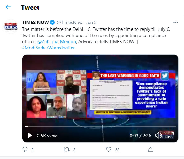 The matter is before the Delhi HC. Twitter has the time to reply till July 6.