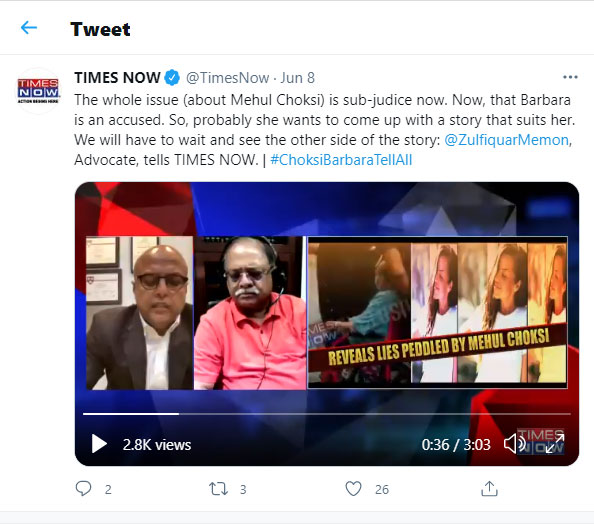 The whole issue (about Mehul Choksi) is sub-judice now.
